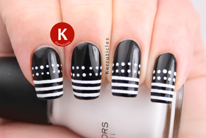 Black and white dots and stripes