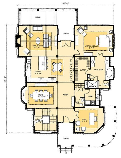 1 m scale down room sizes overall add elevator to entry for Up and down duplex plans