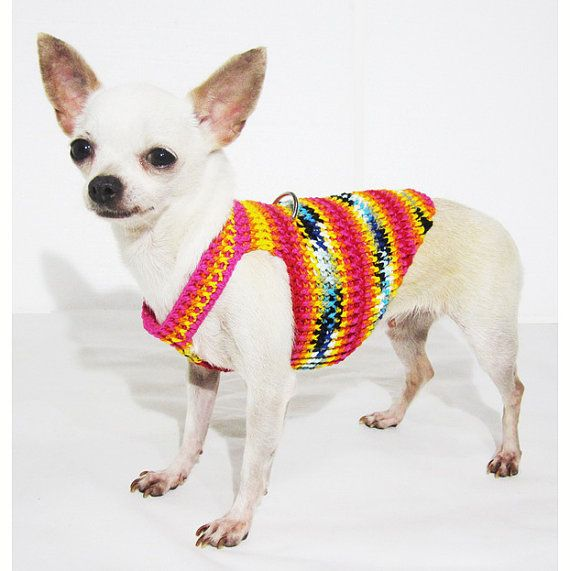 Soft Puppy Harness Cotton Dog Harness Black Orange Pink Halloween Pet Clothes Chihuahua Costume Collar Crochet DH47 Myknitt - Free Shipping