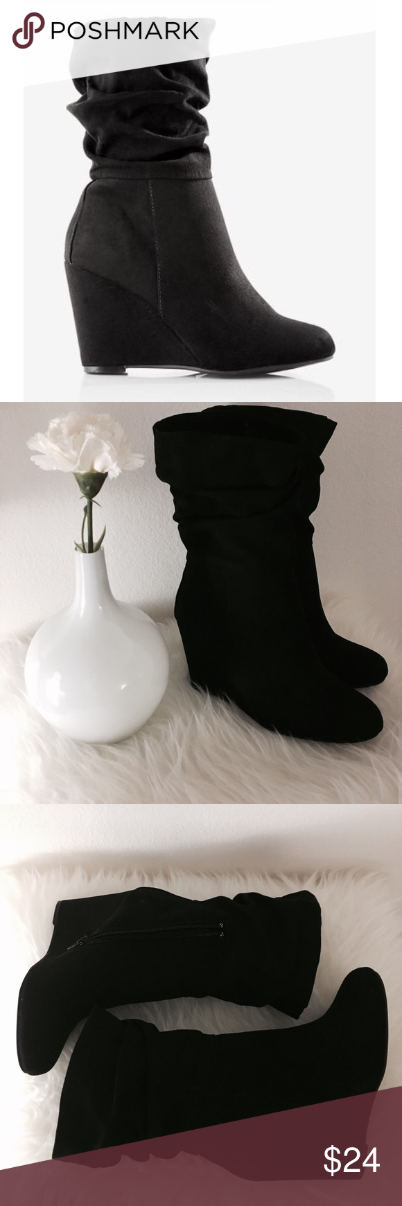 Express Slouch Wedge Boot - Black Express Slouch Wedge Boot - Black. Brand new, never used  •Content + Details• *Suede *Wedge heel *Side zipper  •Fitting Measurements• Size: 6, fits 6 to 6 1/2  ▪️Shipping 📦: I typically ship 1-2 days (excluding Sunday) after a purchase has been made Express Shoes Ankle Boots & Booties