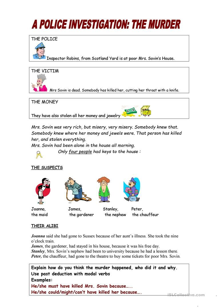 The Police Investigation. Past deduction using modal verbs worksheet ...