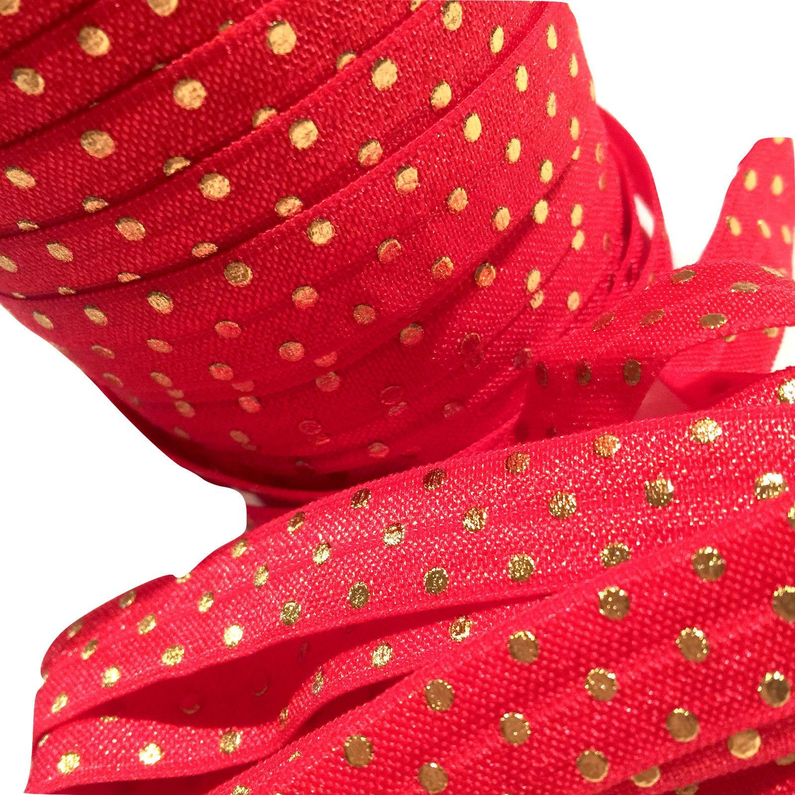 "5 yards Light pink stripe metallic gold polka dot 5//8/"" fold over elastic FOE"
