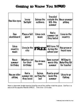 Bingo Icebreaker Includes Blank Bingo Card Back To School Activities First Day Of School Activities Teaching Social Skills