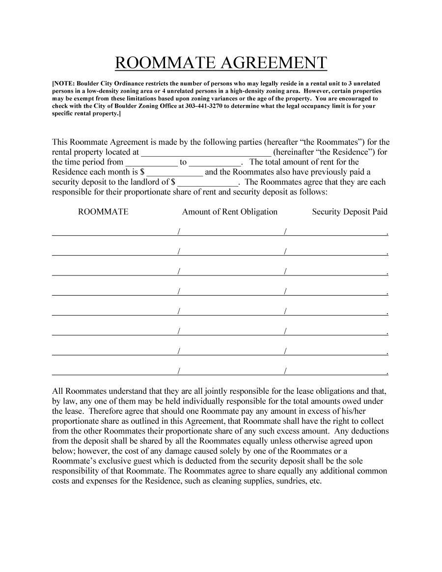 Roommate Agreement Template   Work    Roommate