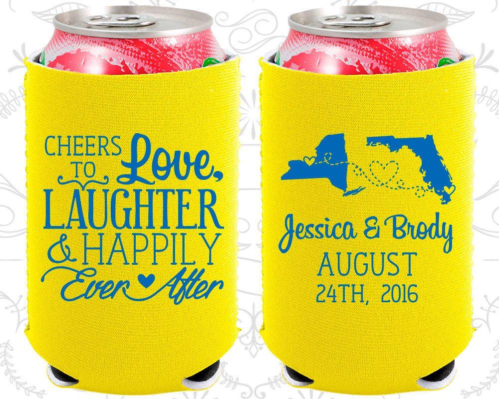 Cheers to Love Laughter, Neoprene Wedding, State to State Wedding, State, Neoprene Wedding Favors (329)