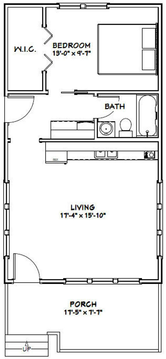 18×32 House — 1-Bedroom 1-Bath — 576 sq ft — PDF Floor Plan — Instant Download — Model 1B