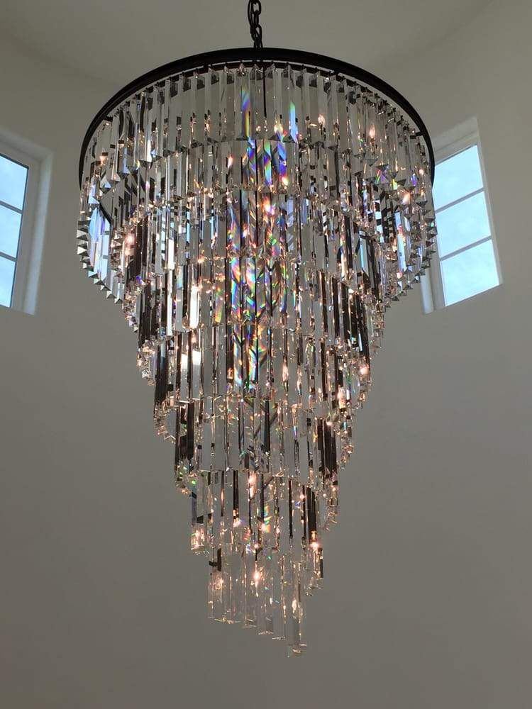 Veccini Spiral Tiered Layered Crystal Fringe Chandelier 36