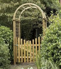 Image result for metal arbor arch with wooden gate