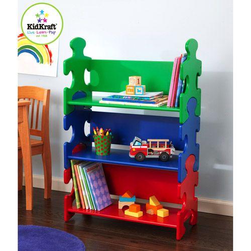 KidKraft 144003 Multi Color Kids Stackable Shelves Puzzle Bookshelf