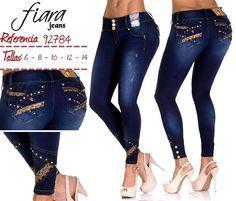 Jeans Colombianos Levanta Cola marca Fiara / Pantalones Vaqueros Push Up Skinny