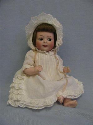 "10"" Antique Doll JUBILEE GOOGLY Hertel & Schwab #165 Original HH Wig & Baby Body"