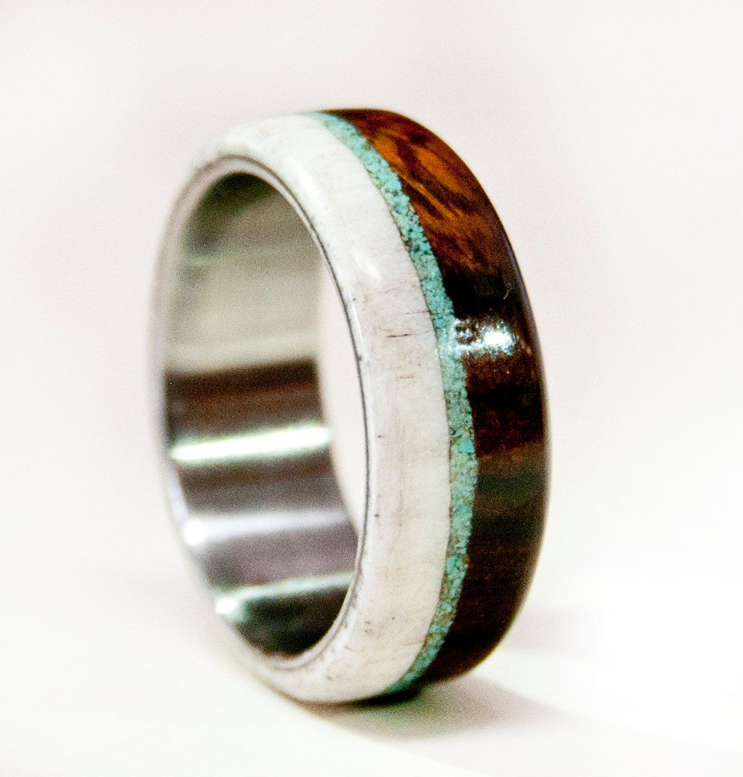 Mens wedding band wood w antler turquoise staghead for Mens turquoise wedding rings