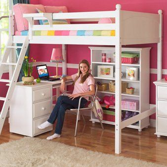 Maxtrix Kids Grand 3 Giant Full High Loft Bed With Long Desk And Drawer Chest Furniture Decor