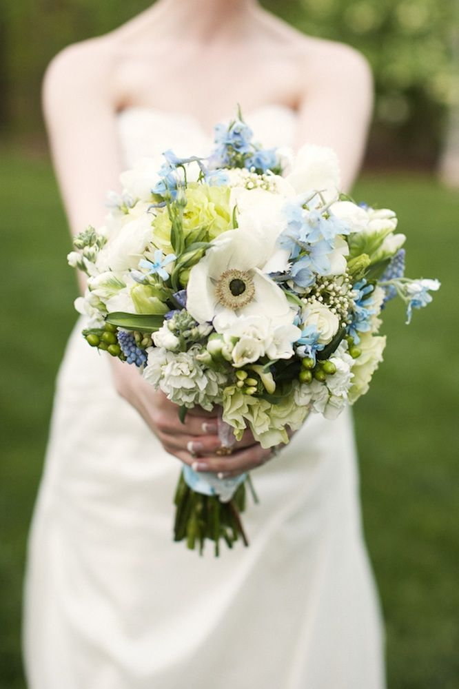 Outdoor Real Wedding Blue Ivory Bridal Bouquet