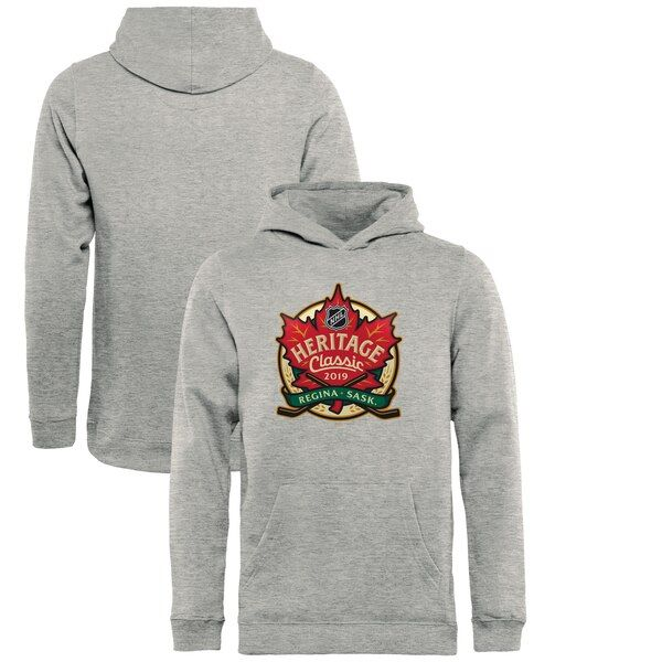 NHL Fanatics Branded Youth 2019 Heritage Classic Event Pullover Hoodie - Heather Gray