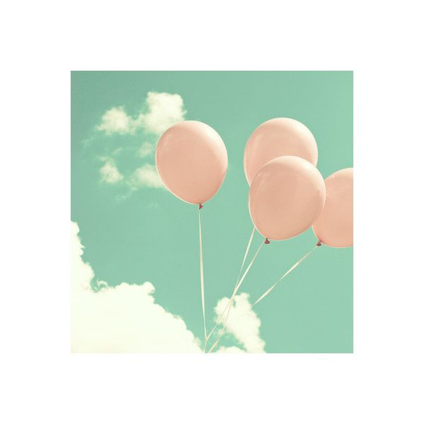 Soft Pink Balloons on Soft Blue Turquoise Sky Art Print by AC... (£40) ❤ liked on Polyvore featuring pictures, backgrounds, extras, icon picture and icons