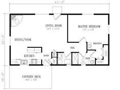 40x20 1 bedroom house plans | ... square feet, 1 bedrooms, 1 batrooms, on 1 levels, Floor Plan Number 1