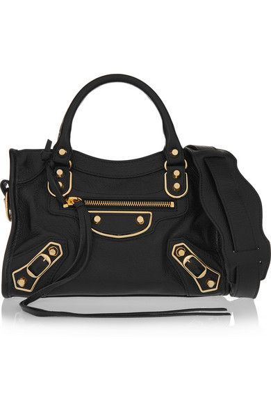 3f685cd6765 BALENCIAGA Classic Metallic Edge City mini textured-leather shoulder bag