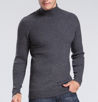 Mens Ribbed Knit Turtleneck Sweater