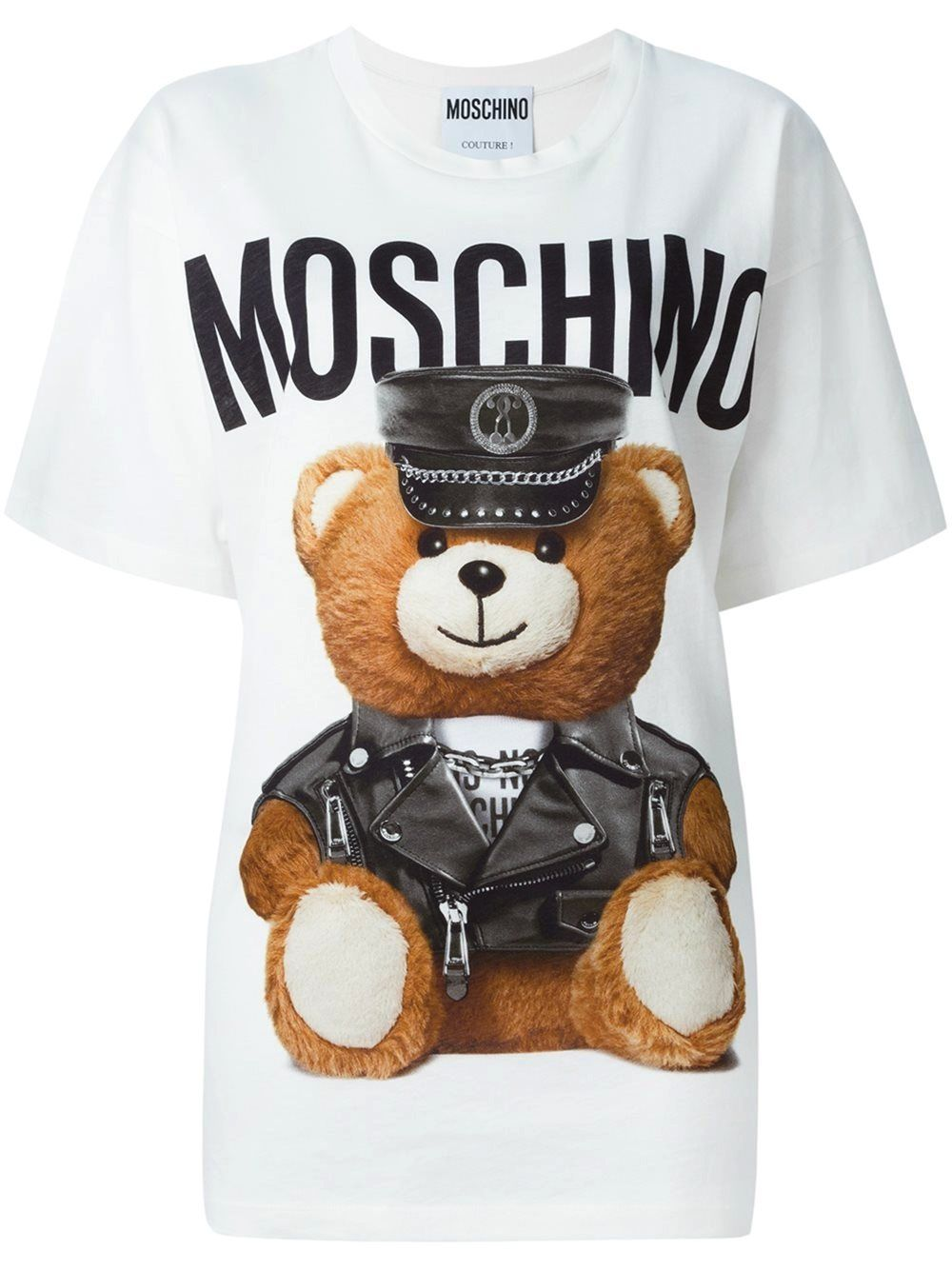 24328e27c Moschino Teddy Bear in leather clothes Printed Cotton Jersey T-Shirt ...
