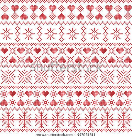 Scandinavian Nordic Style Winter Stitching Christmas Seamless Pattern Including Snowflakes H Winter Sewing Patterns Cross Stitch Patterns Scandinavian Quilts