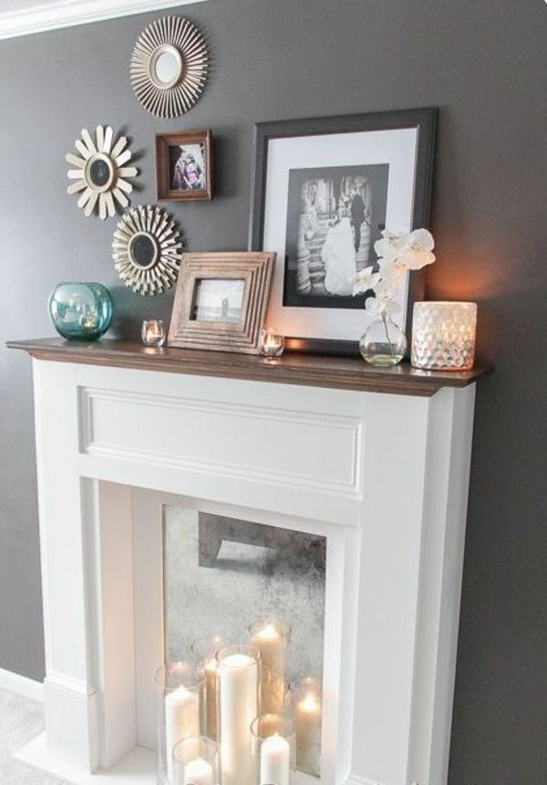 Deko Kamin Gläserne Kerzenständer Weiße Stumpenkerzen