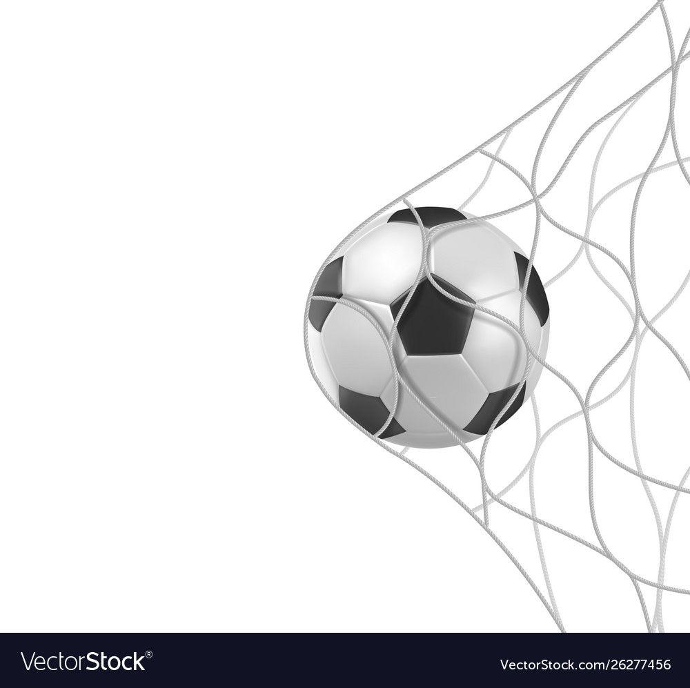 Soccer Football Ball In Goal Net Isolated On White Vector Image On Vectorstock Football Ball Goal Net Soccer
