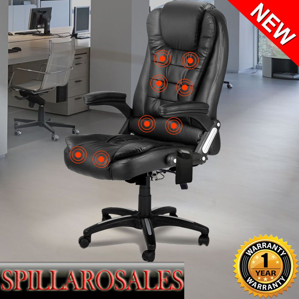 8 Point Massage Chair High Back PU Leather Executive