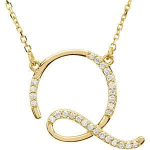 """14kt Yellow Letter """"Q"""" 1/8 CTW Diamond Initial 16"""" Necklace"""