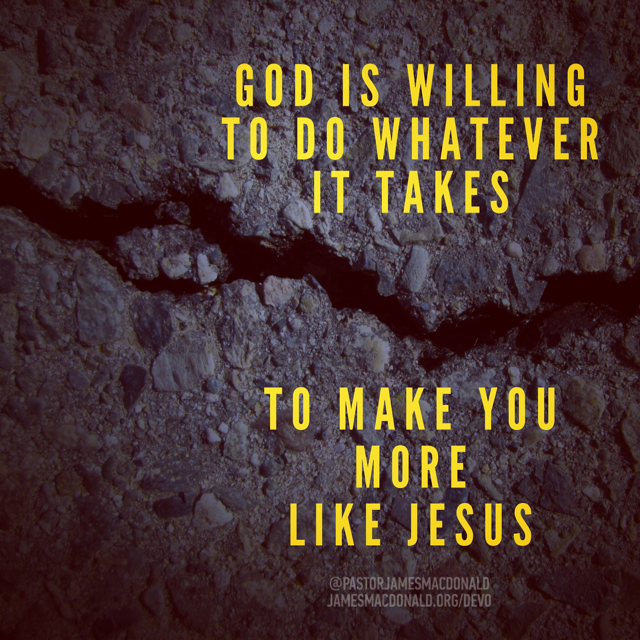 God is willing to do whatever it takes to make you more like Jesus.
