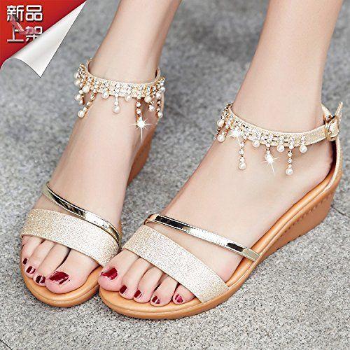 RUGAI-UE Sandales d'été simple Toeless Shoes,blanc,Thirty-Six