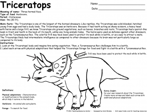 Free printable Dinosaur Triceratops Facts and coloring page ...