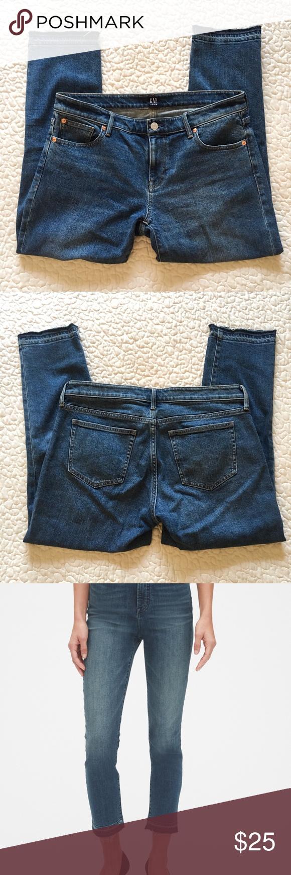Gap mid rise skinny cropped jeans w/raw hem Cropped