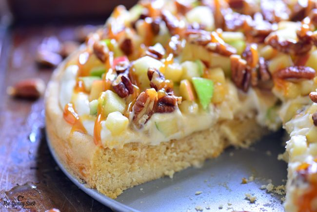 Caramel Apple Fruit Pizza - made on a sugar cookie crust
