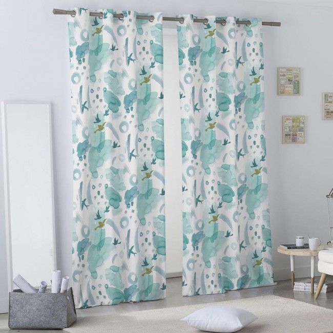 Cortina de ollaos de estampados grandes original dise o for Diseno cortinas salon