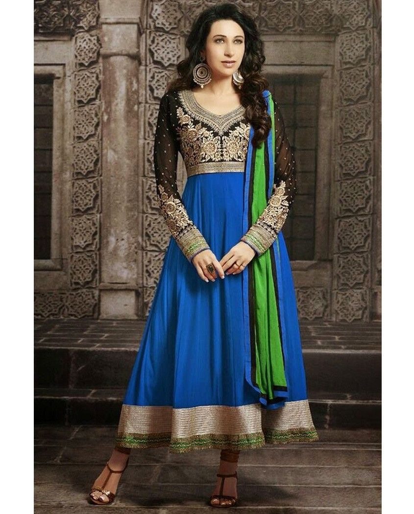 Blue anarkali suit with floral embellished yoke   1. Blue poly georgette anarkali suit2. Comes with matching bottom and dupatta3. Can be stitched upto bust size 42 inches