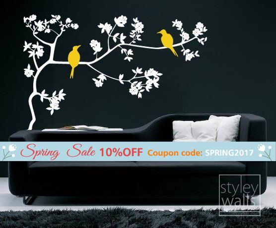 branch and birds wall decal, birds on branch with leaves vinyl wall