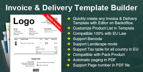 Woocommerce Invoice  Delivery Packing Slip Template Builder