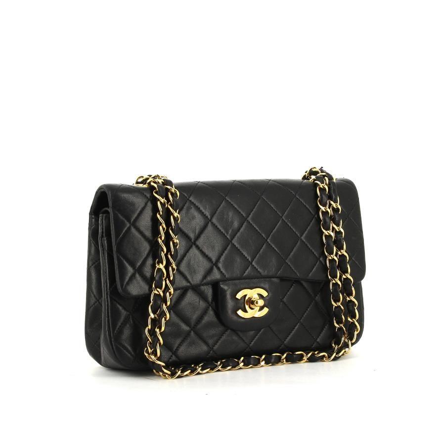 Sac à main Chanel Timeless en cuir matelassé noir   Sac channel ...