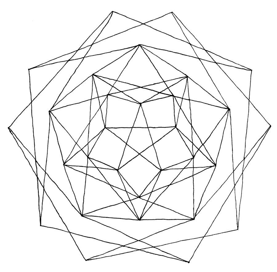 Geometric Line Art : Geometry coloring pages pictures