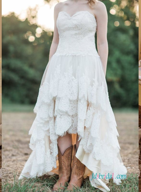Strapless Bohemian High Low Wedding Dress With Tiered Skirt Boots