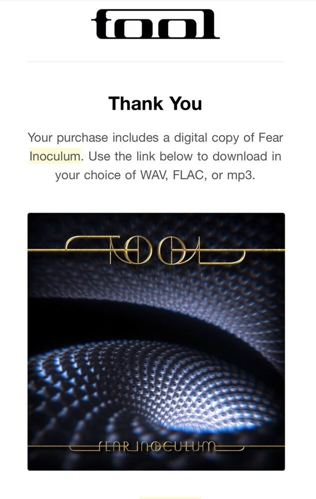Tool Fear Inoculum ALAC, FLAC, MP3 Digital Download Code