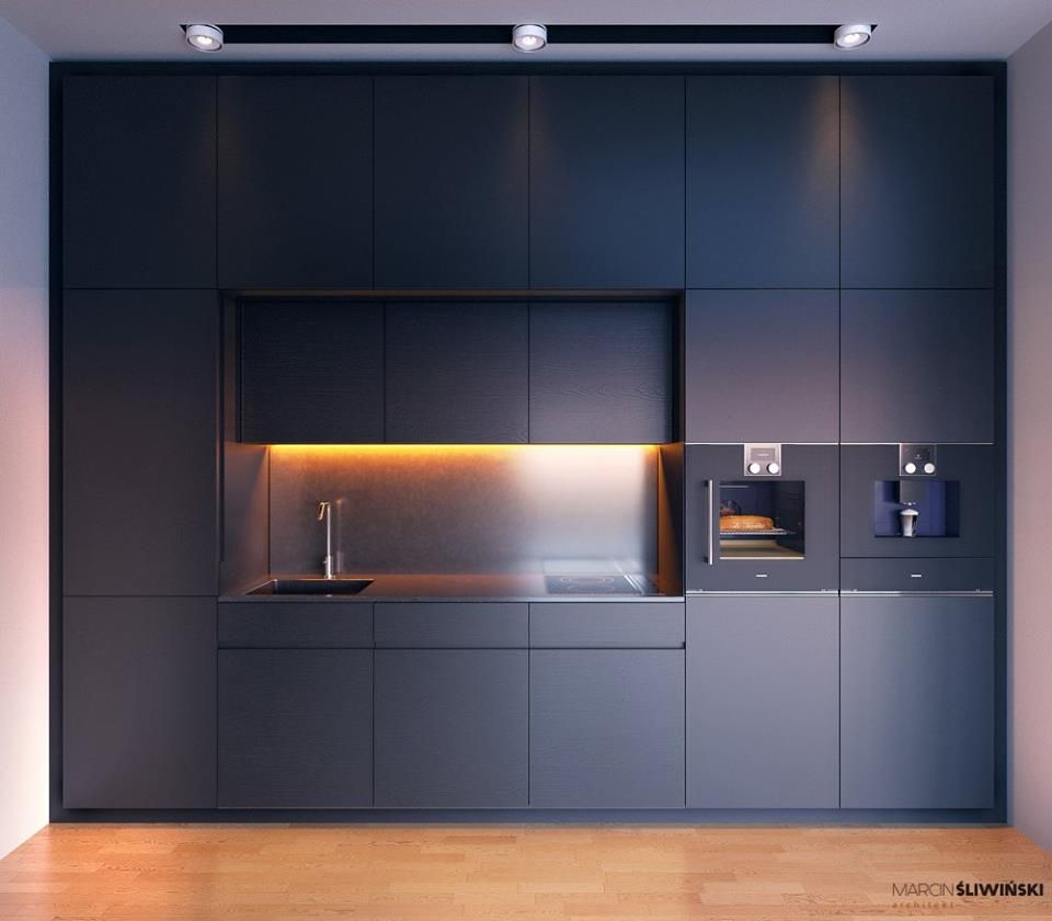 Küchendesign schwarz und weiß cabinet colour scheme  oven layout backunder lighting is