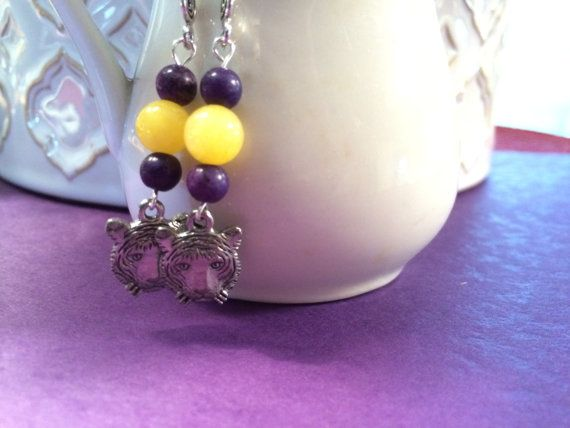 LSU Tiger Earrings by DungleBees on Etsy, $13.99