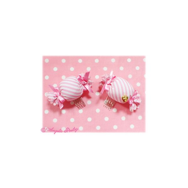 Stripe Candy Comb ❤ liked on Polyvore featuring lolita, accessories, angelic pretty, hair comb accessories and hair comb
