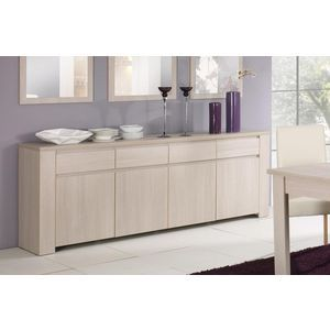 Buffet bahut contemporain 4 portes 4 tiroirs ch ne blanchi for Bahut salon