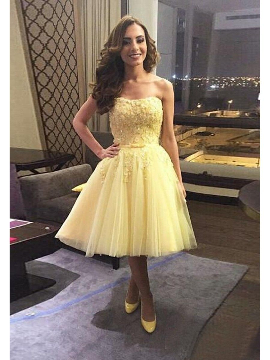 Short Yellow Lace Tulle Homecoming Cocktail Prom Dresses Party ...