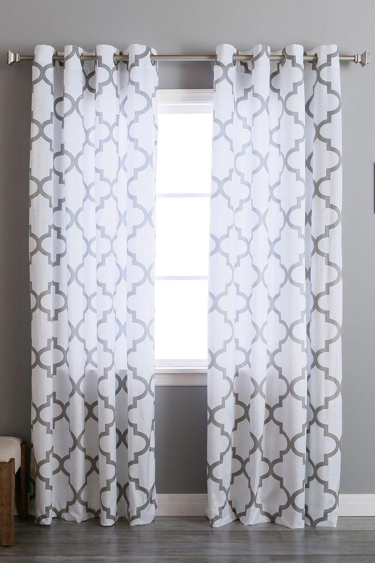 Velvet Reverse Moroccan Printed Grommet Curtains - Set of 2 Panels ...