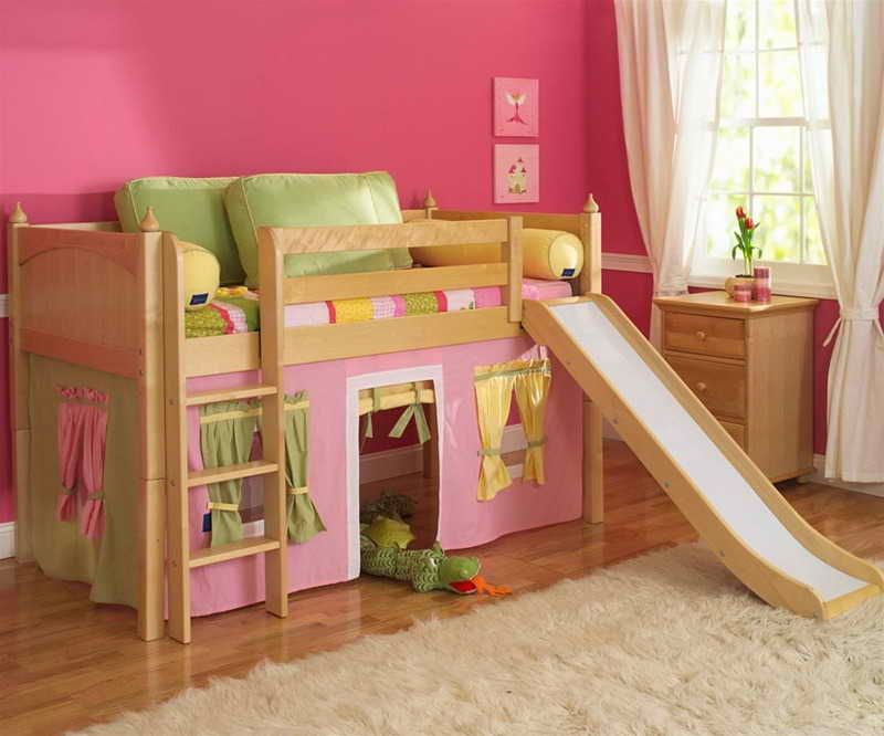 Best Low Loft Bed With Slide And Tent Build A Loft Bed Kid 640 x 480