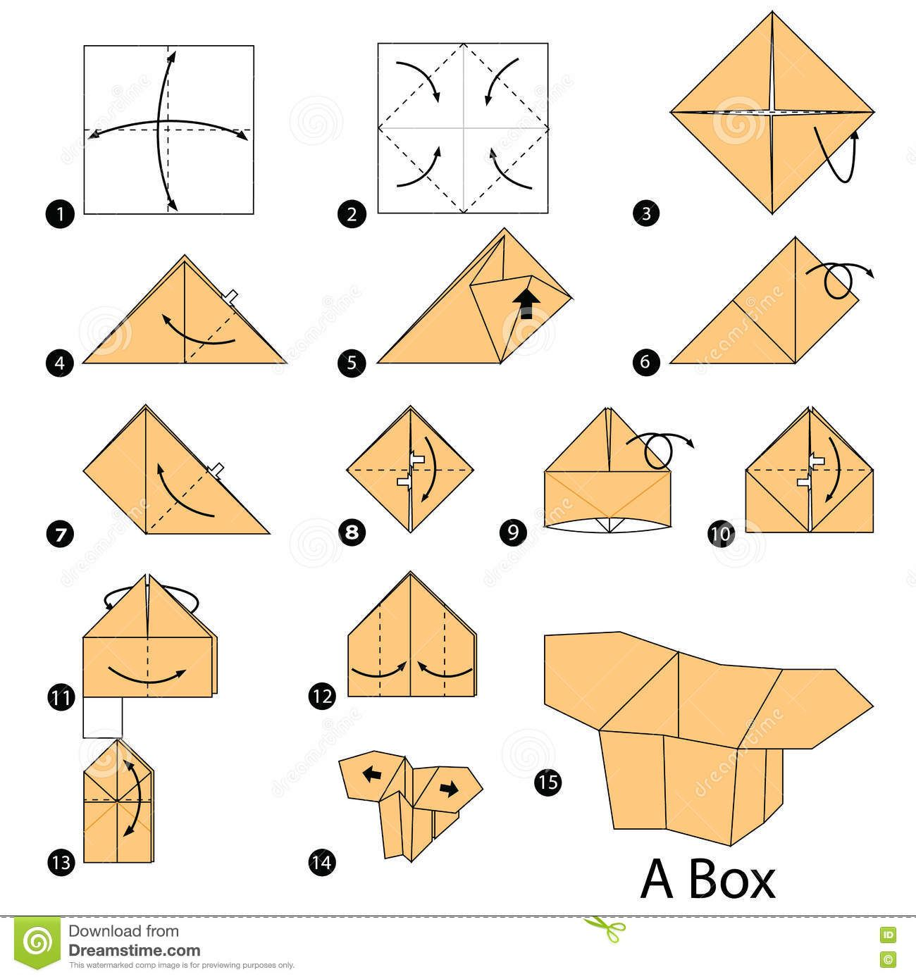 step-by-step-instructions-how-to-make-origami-a-box-stock ... - photo#47